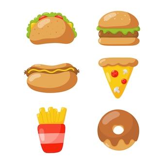 Fastfood pictogrammen instellen cartoon stijl geïsoleerd op een witte achtergrond.