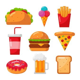 Fastfood pictogrammen instellen cartoon stijl geïsoleerd op wit