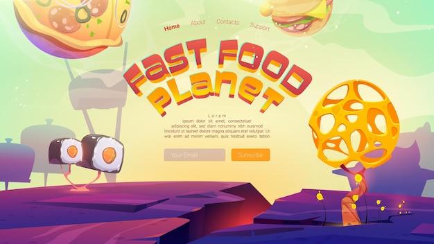 Fastfood planeet cartoon bestemmingspagina met pizza hamburger bollen en sushi over buitenaards landschap