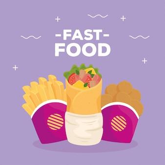 Fastfood-poster, burrito met aardappelen, frietjes en gebakken kip