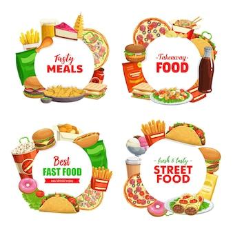 Fastfood ronde banners hamburger