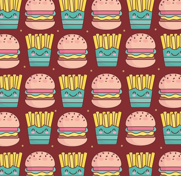 Fastfood schattig hamburger frietjes patroon