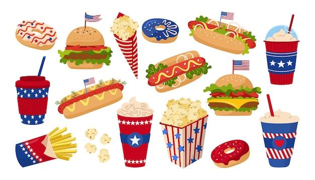 Fastfood set amerikaanse onafhankelijkheidsdag met vlag, hamburger, kop en donut, hotdog, popcorn