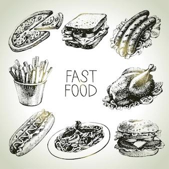 Fastfood-set. handgetekende illustraties