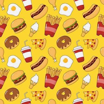 Fastfood snacks naadloos patroon. drankjes en dessert geïsoleerd op geel.