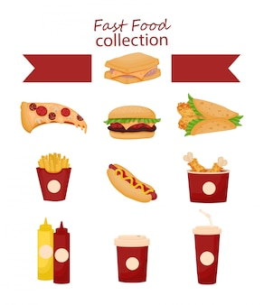 Fastfood tekenfilm verzameling.