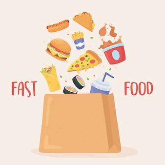 Fastfood, vallen in papieren zak pizza hamburger kip burrito frisdrank