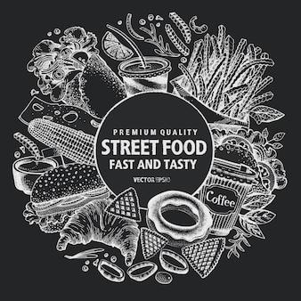 Fastfood vector frame. straatvoedsel banner ontwerpsjabloon.