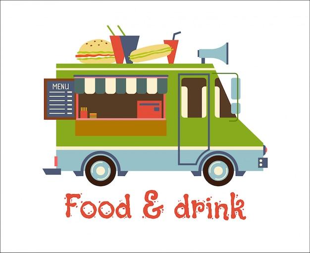 Fastfoodaanhangwagen met hamburger op wit wordt geïsoleerd dat. straatvoedselauto, mobiele keuken, restaurant.