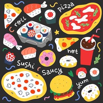 Fastfoodcollectie op doodle-stijl