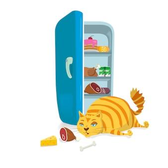 Fat cat steelt voedsel uit de koelkast
