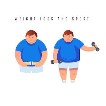 Fat man karakter loopt snel op loopband.