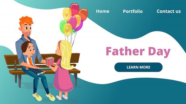 Father day cartoon man jongen en meisje zitten op de bank