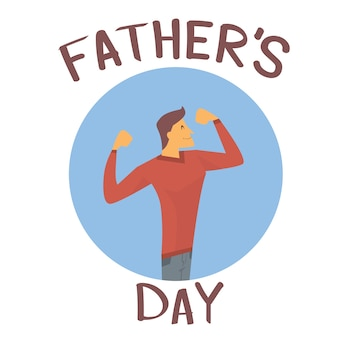 Father day holiday, strong dad show muscle