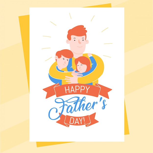 Fathers day briefkaartsjabloon met vader zijn zoon en dochter knuffelen