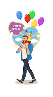 Fathers day viering cartoon vector concept