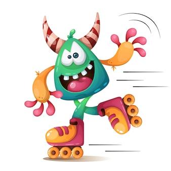 Faunny, schattige, gekke monscter karakters. roller skater illustraton