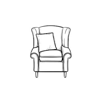 Fauteuil hand getrokken schets doodle pictogram. zachte fauteuil met kussen schets vectorillustratie voor print, web, mobiel en infographics geïsoleerd op een witte achtergrond.