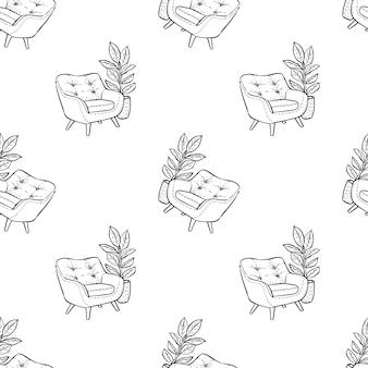 Fauteuil met een pot met ficus schets doodle patroon.