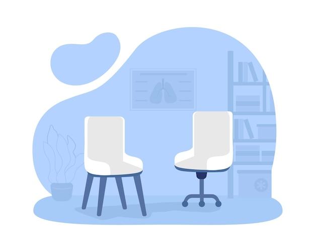 Fauteuils voor kantoor kamer 2d vector geïsoleerde illustratie. privé kliniek. comfortabele plek om met patiënten te praten. bureaustoelen platte objecten op cartoon achtergrond. ehbo-kamer kleurrijke scène