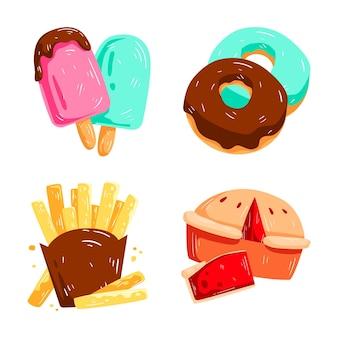 Favoriete voedingsmiddelen en dranken stickers collectie