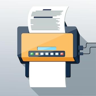 Faxpictogram in lange schaduwstijl met platte ontwerp