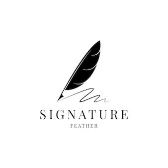 Feather ganzenveer handtekening logo ontwerp vector