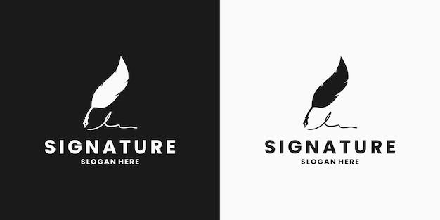 Feather handtekening pen logo ontwerpsjabloon