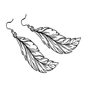 Feather oorbel omtrek stijl. zomer accessoire. vector illustratie
