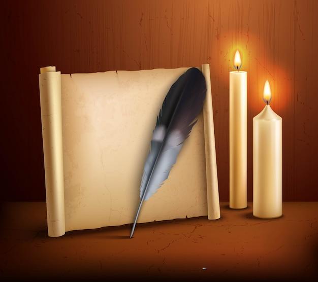 Feather perkament kaarsen realistische achtergrond poster