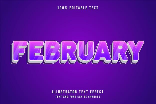 Februari, 3d bewerkbaar teksteffect paarse gradatie roze schattige stijl
