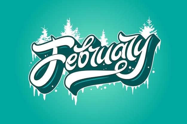 Februari typografie met sparren en ijspegels op turkooizen achtergrond.