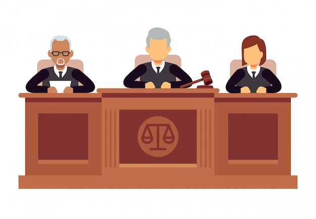 Federaal hooggerechtshof met rechters. jurisprudentie en wet vector concept