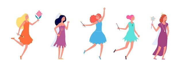 Fee dames. cartoon prinses, meisjes in feestelijke jurken. geïsoleerde platte actrices, sprookjesfiguren met toverstokjes