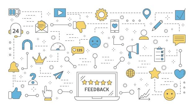 Feedback concept. idee van een klantbeoordeling en recensie. laat een reactie achter en schrijf je in. productevaluatie. set van kleurrijke lijn iconen. illustratie