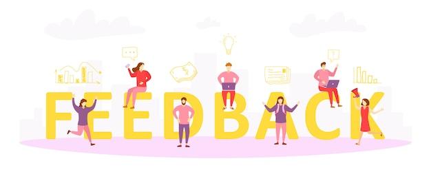 Feedback concept illustratie. personages van mensen geven feedbackbeoordelingen en recensies. feedback mensen. het idee om klanten te evalueren en terug te roepen.