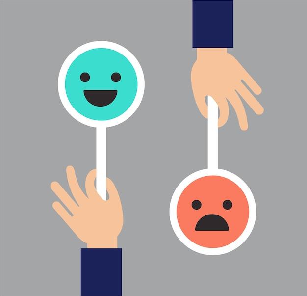 Feedback conceptontwerp, emoticon, emoji en glimlach, schaal van emoticons