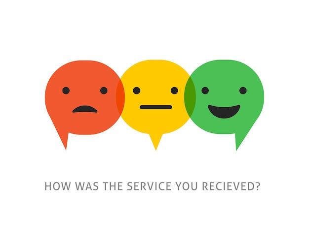 Feedback conceptontwerp, emoticon, emoji en glimlach, schaal van emoties