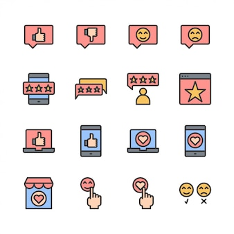 Feedback en klantreview gerelateerde icon set