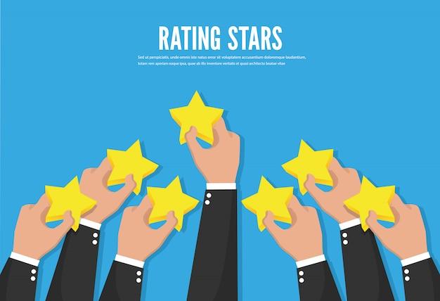 Feedback herkenning. beoordeling sterren. vector illustratie concept afbeelding
