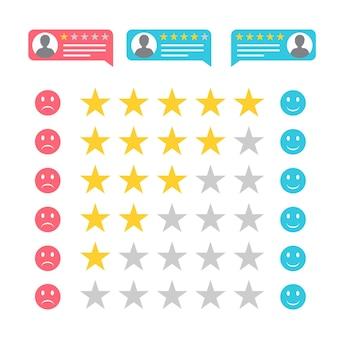 Feedback in vlakke stijl. vijf sterren rang. kwaliteitsbeoordeling. positieve en negatieve feedback. graag en niet leuk voor de service. vector illustratie.