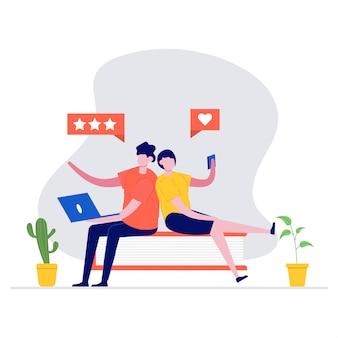 Feedback of beoordeling illustratie concept met karakters. klantbeoordeling. moderne illustratie in stijl voor bestemmingspagina, mobiele app, poster, webbanner, infographics, heldenafbeeldingen