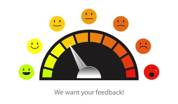 Feedback schaal emoji concept illustratie tevredenheid beoordeling niveau beoordeling en evaluatie van service