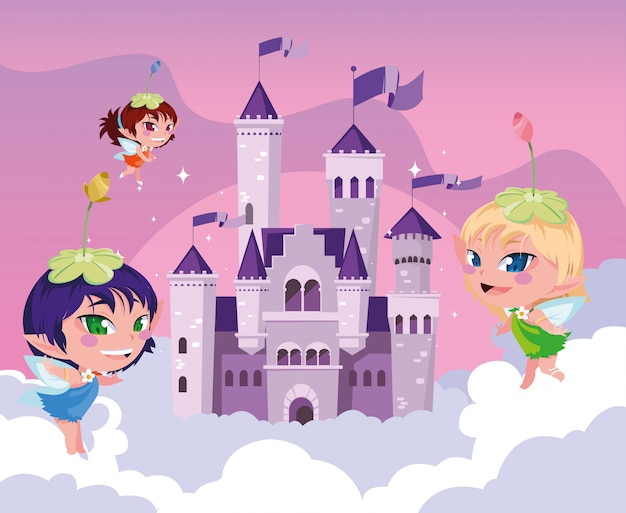 Feeën met kasteelsprookje in de hemel met wolken