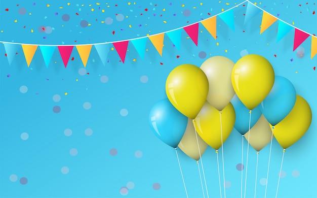Feest achtergrond met ballonnen en verjaardag vlaggen op blauw