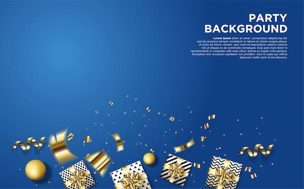 Feest achtergrond met illustraties van enkele 3d geschenkdozen