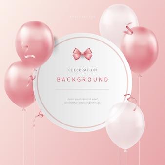 Feest achtergrond met zacht gekleurde realistische ballonnen
