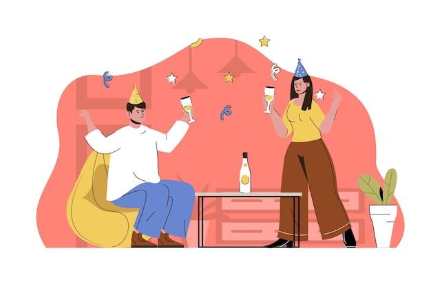 Feest begon concept man en vrouw in feestelijke kegels drinken en plezier maken