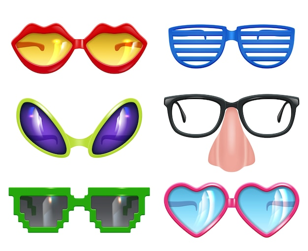 Feest bril. maskerade realistische grappige masker gekleurde partij mode gekleurde symbolen vector set. grappige glazen en zonnebril tot viering illustratie