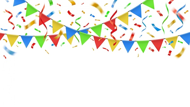 Feest confetti en kleur vlaggen. viering decoratieve papier slingers, verjaardag partij banner confetti explosie en feest feestelijke bunting sjabloon carnaval garland illustratie